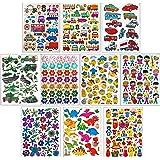 Jazzstick 10-Sheet Vehicle Flower Dinosaur Fun Sticker Value Pack Bulk 03
