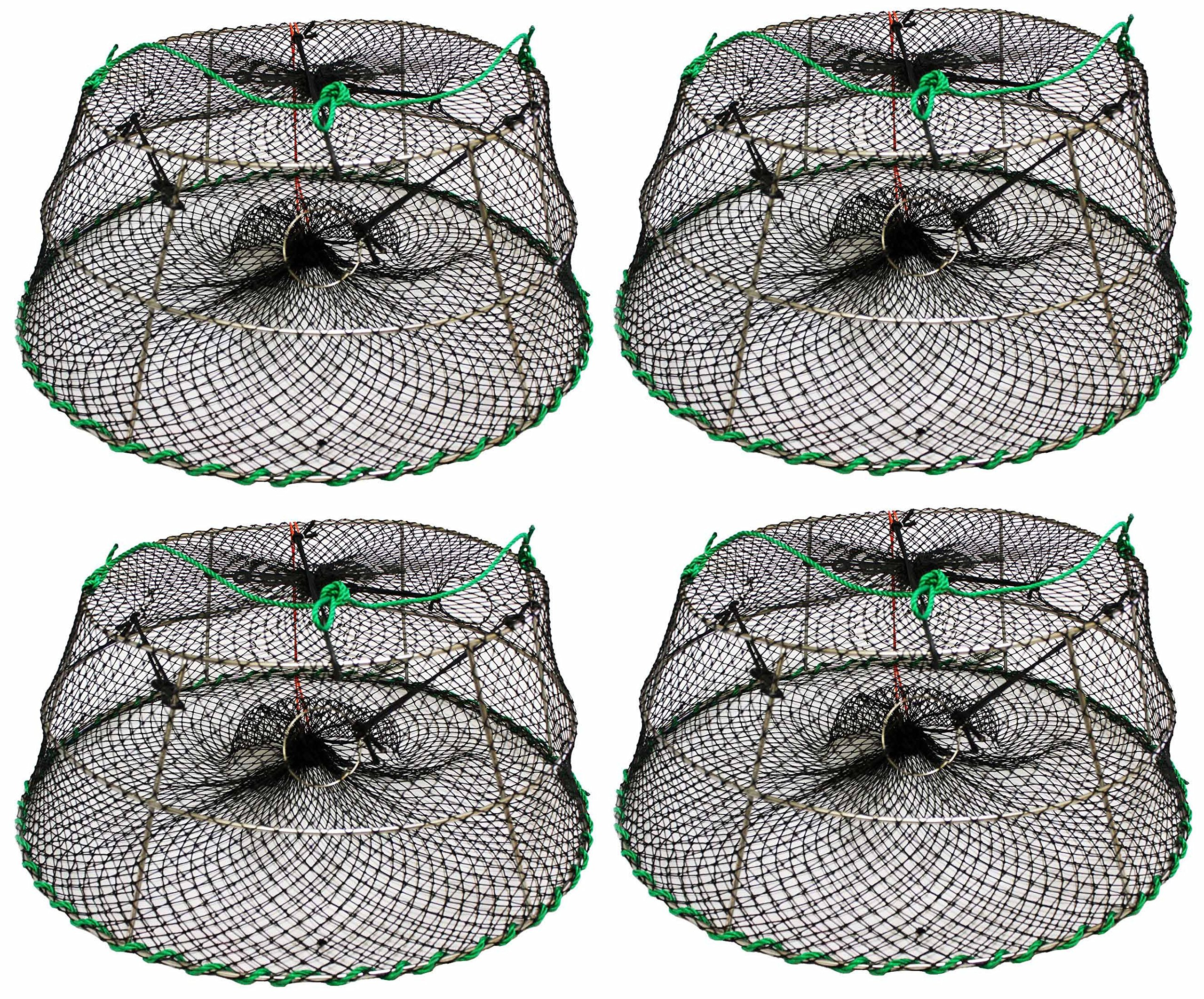 4-Pack of KUFA Sports Tower Style Stainless Steel Prawn trap (Trap Size: Ø30''xØ20''x12''; Stretched Mesh size: 1-1/8'') CT76x4