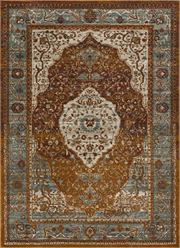 Well Woven Evoke Modern Vintage Medallion Mocha Light Brown Dusty Blue 8×10 7'10″ x 9'10″ Area Rug