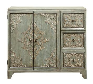 Awesome Pulaski P017171 Weathered Green 3 Door Home Bar Cabinet, Wine Storage