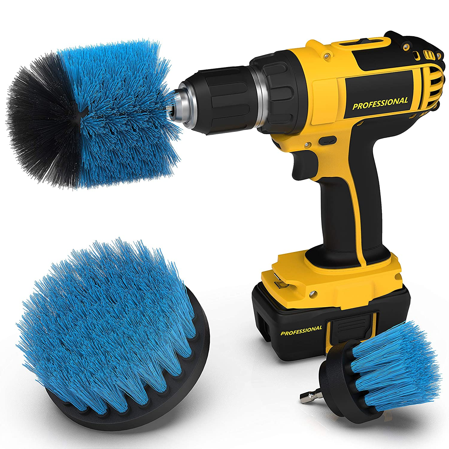 Drill Attachment Power Scrubber – Turbo Scrub Kit of 3 Scrubbing Brushes – All Purpose Shower Door, Bathtub, Toilet, Tile, Grout, Rim, Floor, Carpet, Bathroom and Kitchen Surfaces Cleaner Brison