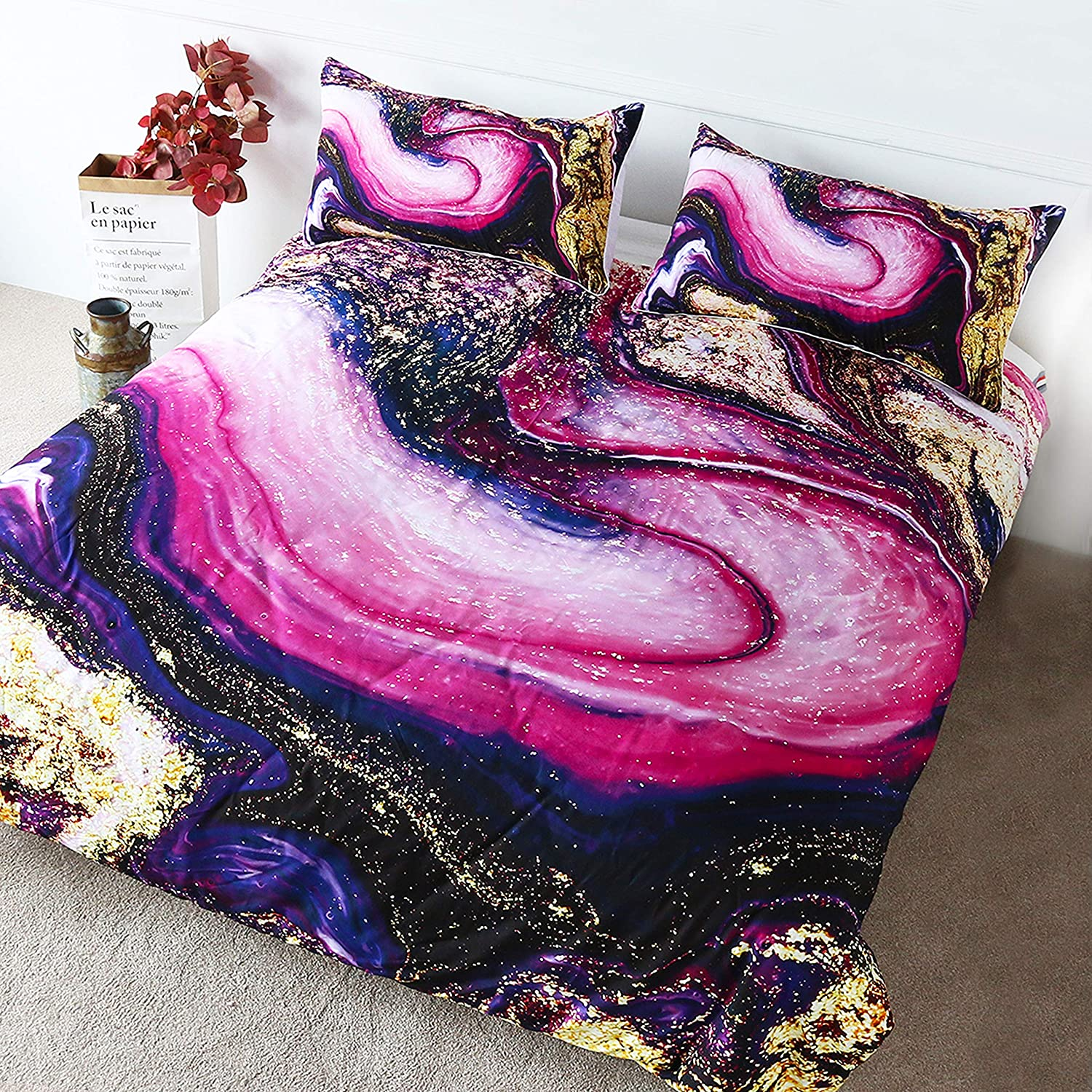 Blessliving Girly Gold Marble Bed Set Pastel Watercolor Fluid Painting Duvet Cover 3 Pieces Bright Purple Pink Bedding Twin Size