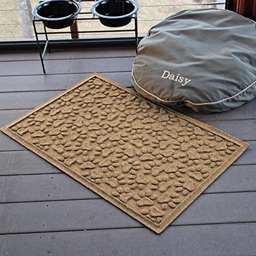 AquaShield Scattered Dog Paws Mat, 2 by 3-Feet, Camel