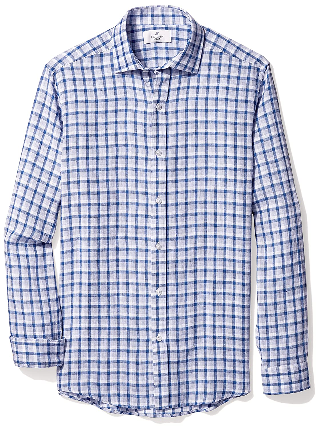 Amazon Buttoned Down Mens Fitted Casual Linen Cotton Shirt