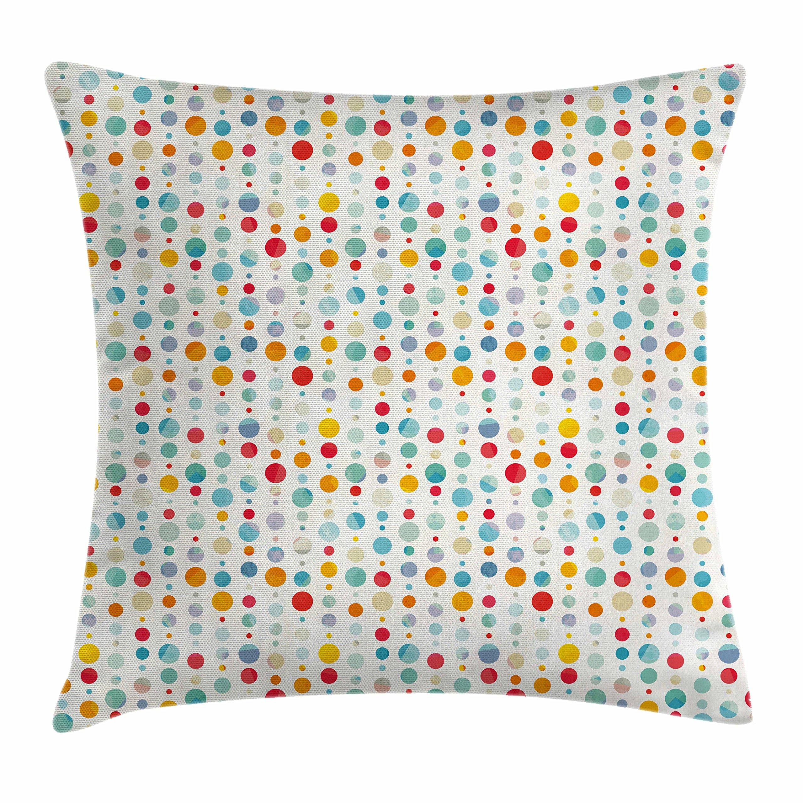 Ambesonne Abstract Throw Pillow Cushion Cover, Colorful Circular Large Dots Bubble Happy Hipster Kids Nursery Stylish Fun Print, Decorative Square Accent Pillow Case, 16 X 16 inches, Multicolor