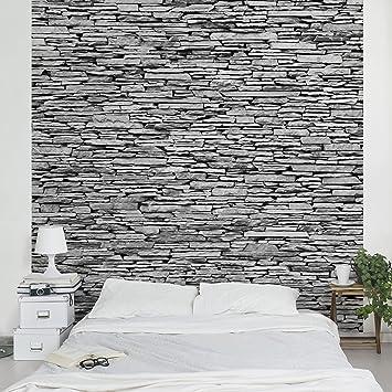 fototapete steintapete arizona stonewall vliestapete premium quadrat tapete steinoptik grau vlies wandbild - Fototapete Steinmauer Wohnzimmer