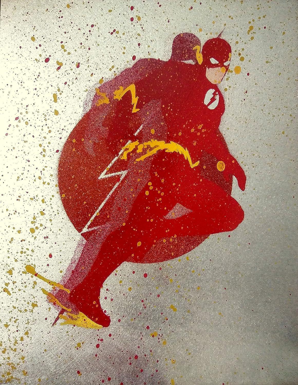 The Flash Splatter Graffiti Spray Paint Art Justice League Painting on Metal