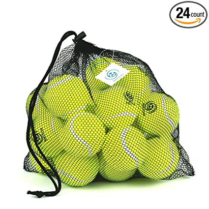 Pressureless Tennis Balls -24 Pack with Mesh Carrying Bag, Sturdy & Durable, Long Lasting - Great For Lessons, Practice, Throwing Machines & Playing With Pets-By Briton