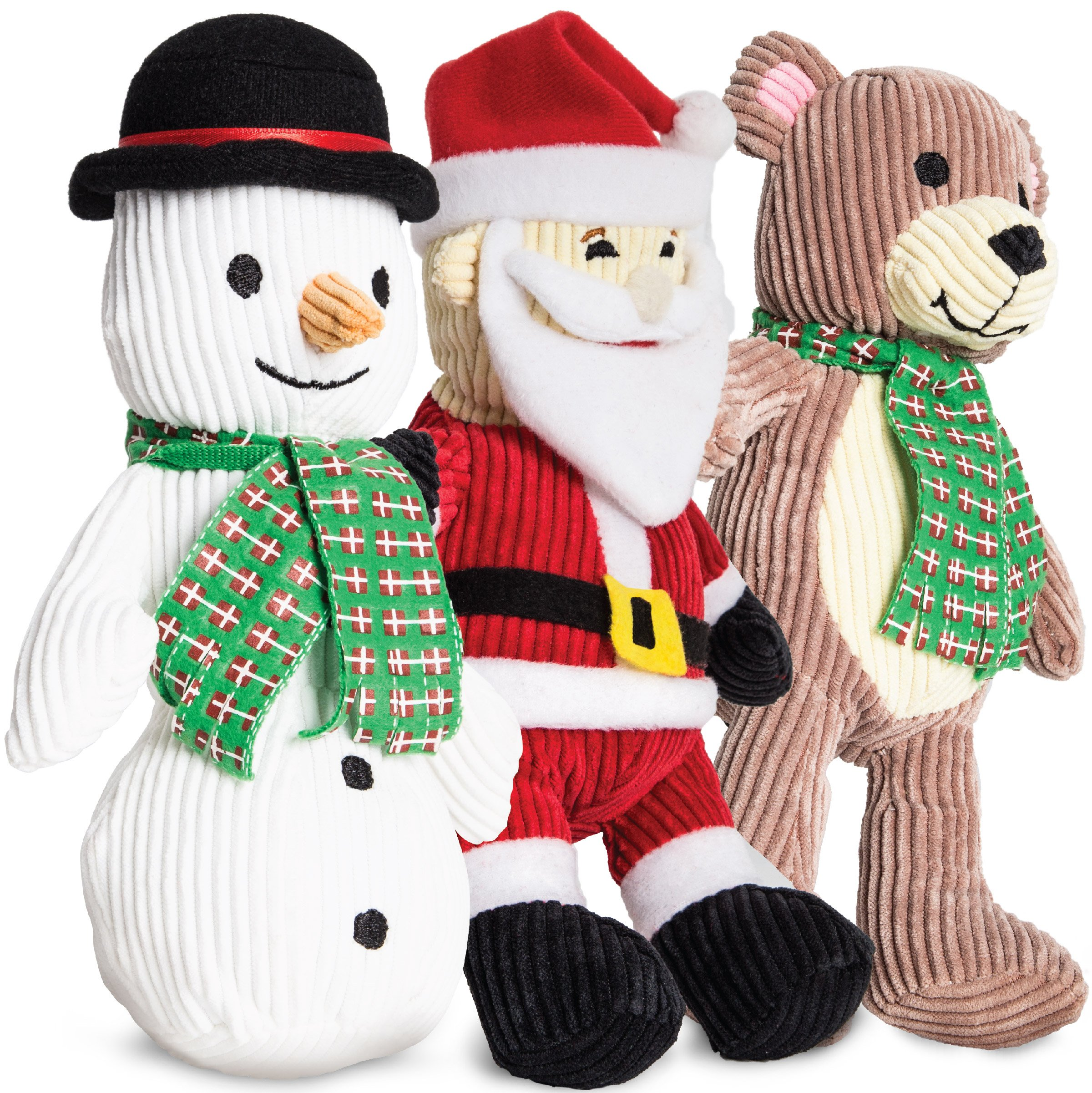 Animal Planet 3 Pack Holiday Plush Corduroy Chew Toy Set For Dogs, Hidden Built-In Squeakers, Made W/Soft Fabric & Durable Stitching, Santa/Snowman/Bear Designs, Perfect For Playtime