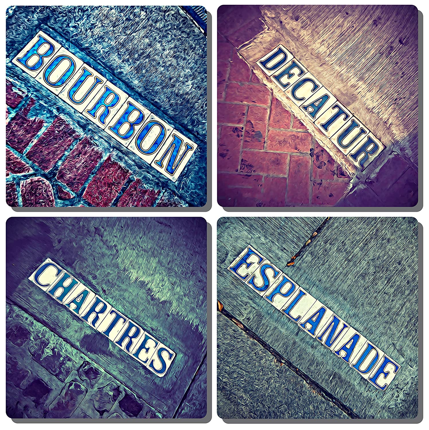 New Orleans French Quarter Stone Drink Coasters. Set of 4 iconic tiled street signs. Tumbled Porcelain, Cork-backed.