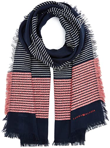 Tommy Hilfiger Wooly Stripes Scarf, Bufanda para Mujer, Navy, (Tamaño del fabricante:OS)