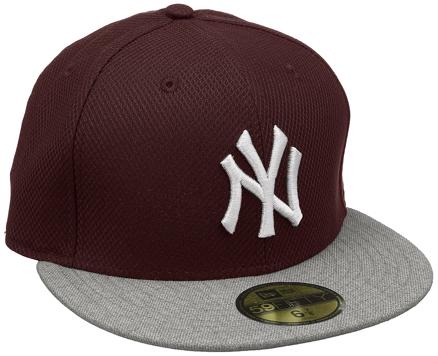 New Era 2 59Fifty NY Yankees Heathera - Gorra de béisbol, multicolor rojo Maroon/Grey Talla:7 3/8