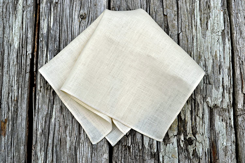 Cream Irish Linen Handkerchief with Narrow Rolled Hem
