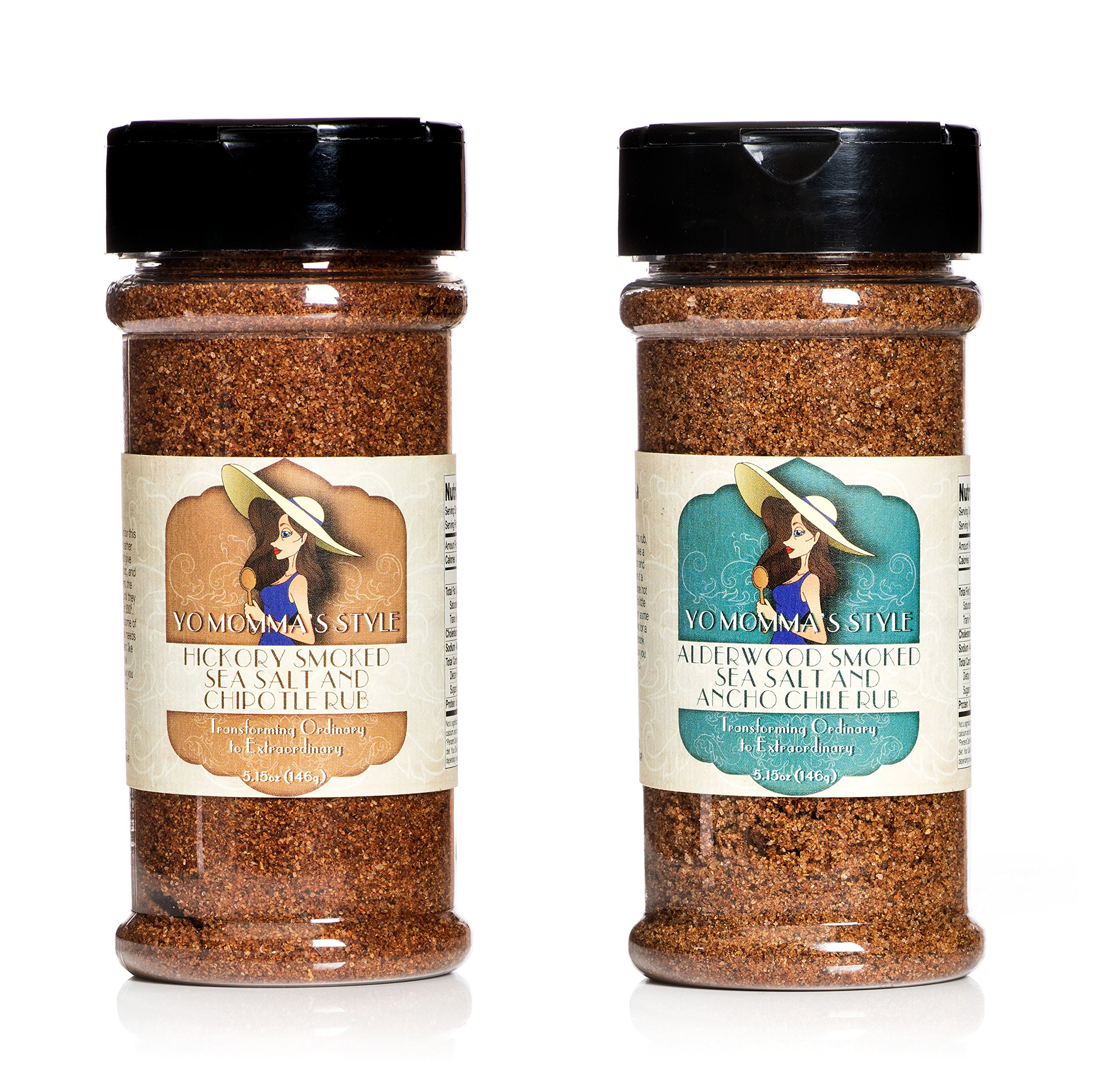 Yo Momma's Style All Natural, Small Batch Spice Rub Combo Pack- Hickory Smoked Sea Salt & Chipotle, Alderwood Smoked Sea Salt & Ancho Chile Rub - 5.15oz, Pack of 2