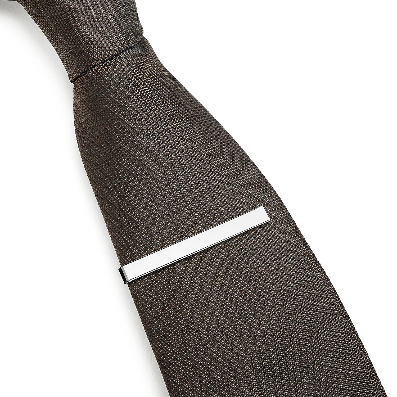 Lot de Pinces /à Cravate 3 Pi/èces 5.4 CM Argent Noir et Or avec Bo/îte Cadeau