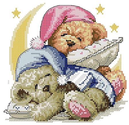 Kcs 14 Counted Aida Needlepoint Cross Stitch Teddy Bear Kit With