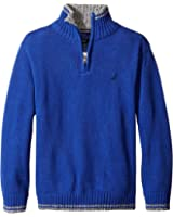 Nautica Boys' Quarter Zip Neck Sweater With Tipping