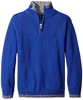 Amazon.com: Nautica Boys' Quarter Zip Neck Sweater with Tipping ...