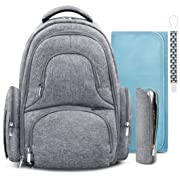 Swish Baby Diaper Bag Backpack w/Insulated Pockets and Stroller Strap - Large Waterproof Multi-Function Travel Organizer - Changing Pad, Bottle Holder and Pacifier Clip Included (Grey Marl)