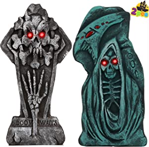 "JOYIN Halloween LED Graveyard Tombstone (2 Pack), 17"" Tall Yard Sign for Halloween Outdoor Lawn, Graveyard, Haunted House, Halloween Yard Decorations"