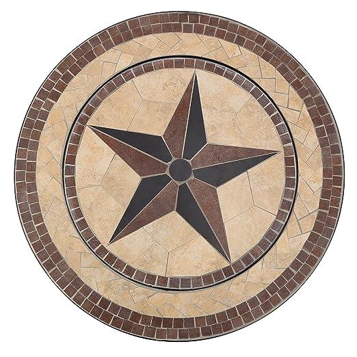 Mari Garden Vigo - Mesa baja de jardín, redonda y con diseño de mosaicos, para exteriores, incorpora brasero con parrilla cromada para barbacoa, ...