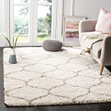 Safavieh Hudson Shag Collection SGH280D Ivory and Beige Moroccan Ogee Plush Area Rug (3' x 5' )