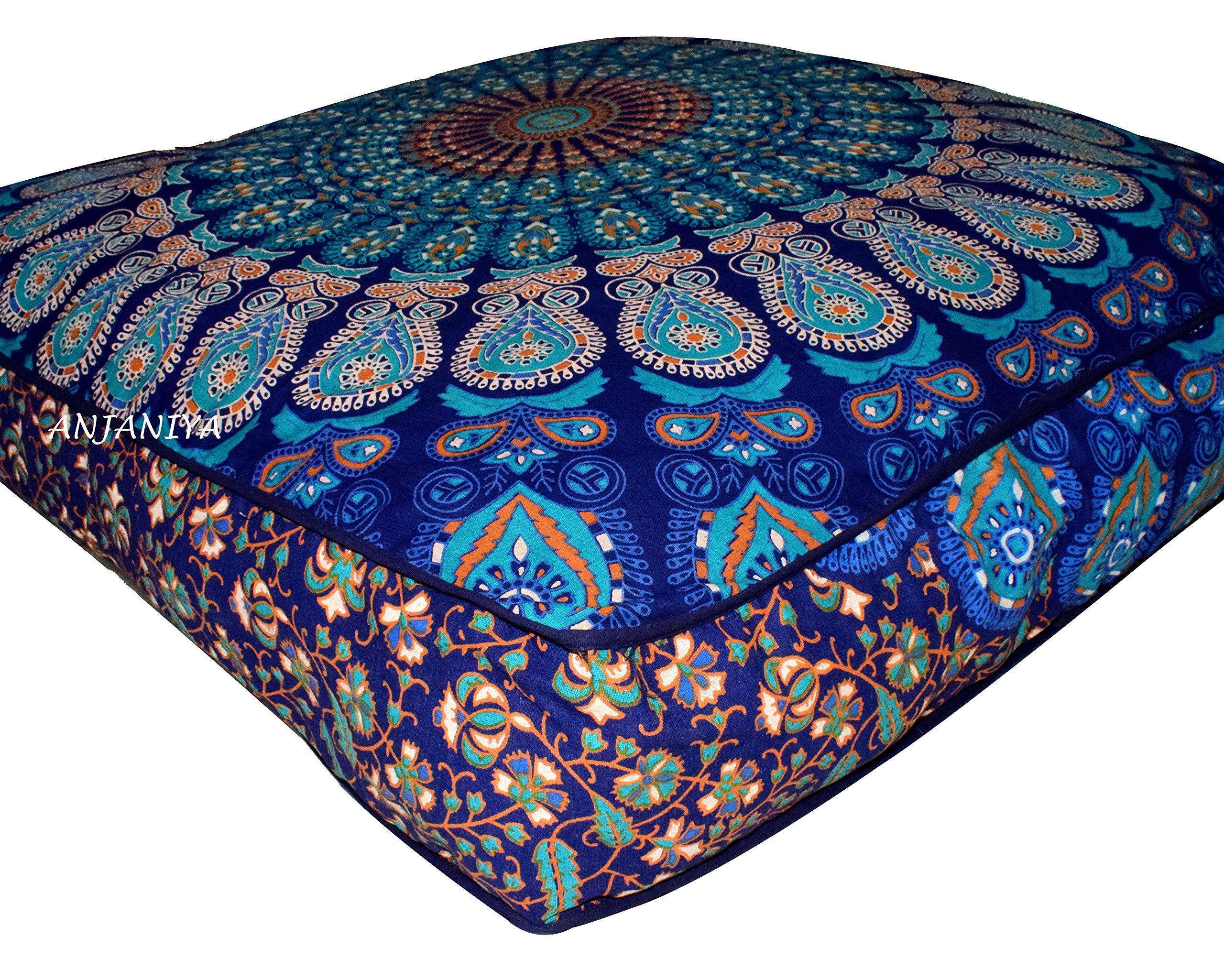 ANJANIYA - 35''x35'' Mandala Bohemian Yoga Meditation Large Square Dog Bed Outdoor Floor Pillow Cover Couch Seating Cushion Throw Hippie Decorative Boho Indian Ottoman (Blue)