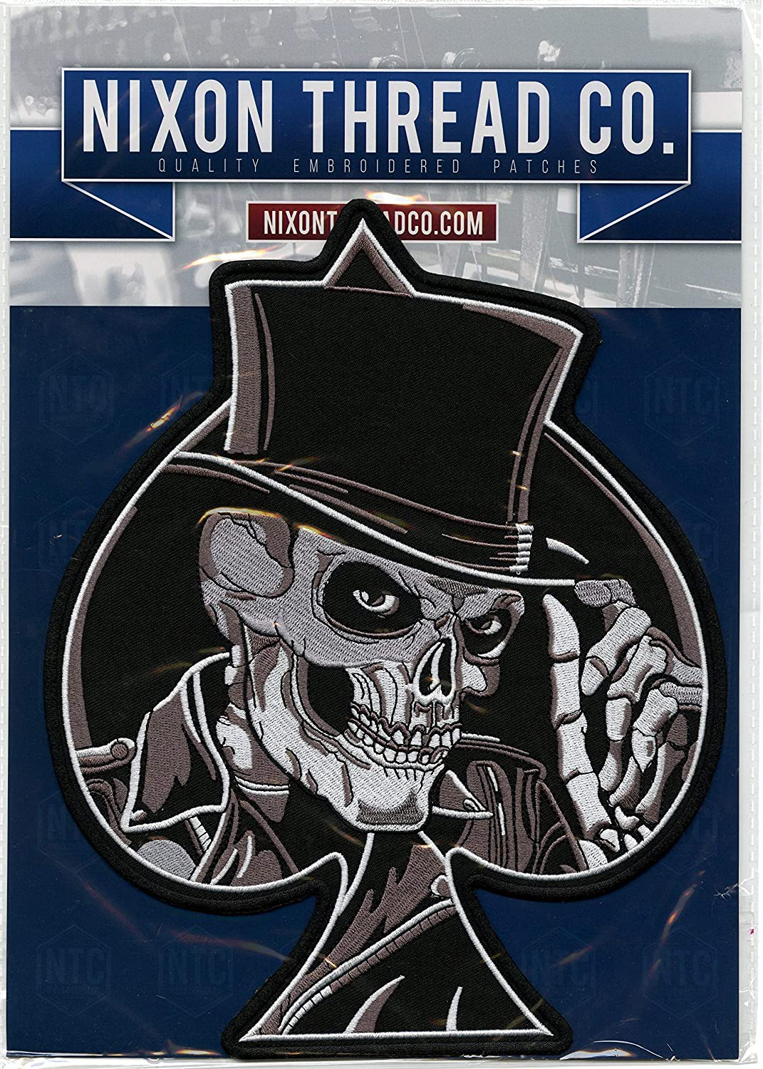 Pool Hustler Skeleton Top Hat  Ace of Spades 8 Ball Iron-On  Sew-On Embroidered Patch 3 X 3 12