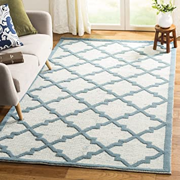Amazon Com Safavieh Martha Stewart Collection Msr2552b Handmade Wool Area Rug 8 X 10 Ivory Light Blue Furniture Decor