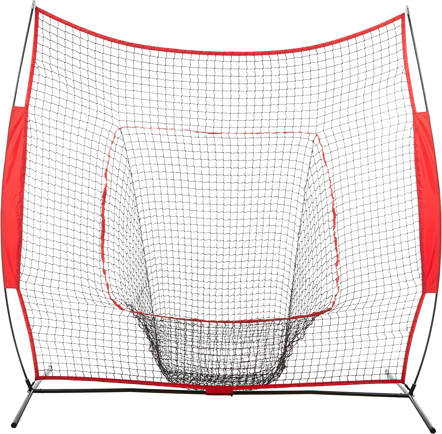AmazonBasics Baseball Softball Hitting Pitching Batting Practice Net With Stand – 96 x 42 x 86 Inches, Red and Black