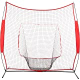 Amazon Basics Baseball Softball Hitting Pitching Batting Practice Net With Stand - 96 x 42 x 86 Inches, Red and Black