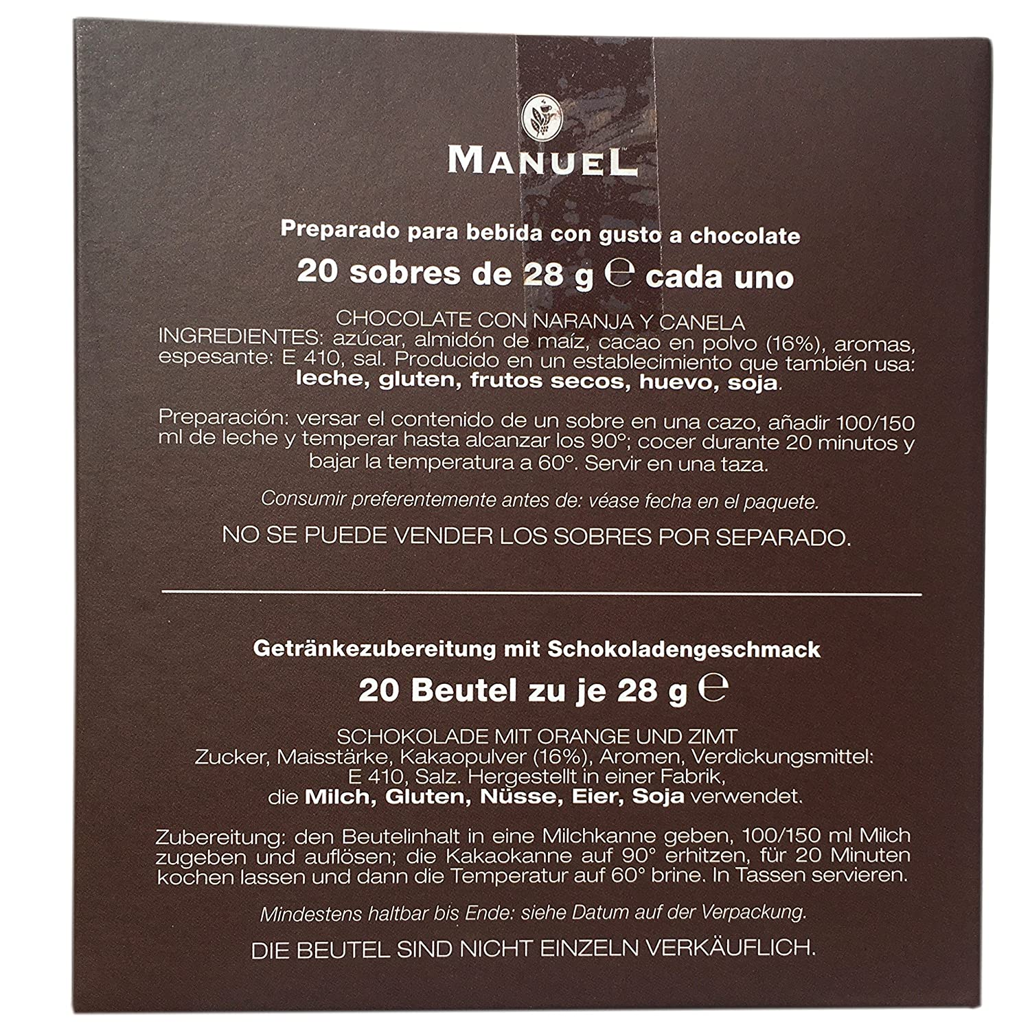 Amazon.com : European Hot Chocolate Orange Cinnamon Flavored - By Manuel Italy. Favorite Drinking Chocolate Sachets 20 Counts 28 gr.