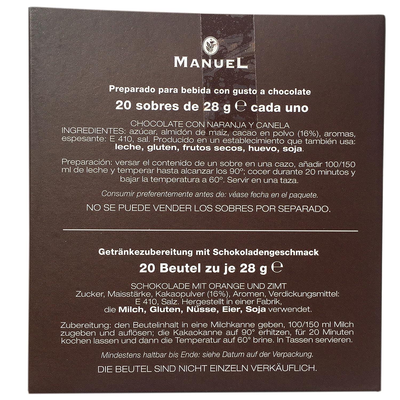 Amazon.com : European Hot Chocolate Orange Cinnamon Flavored - By Manuel Italy. Favorite Drinking Chocolate Sachets 20 Counts 28 gr.