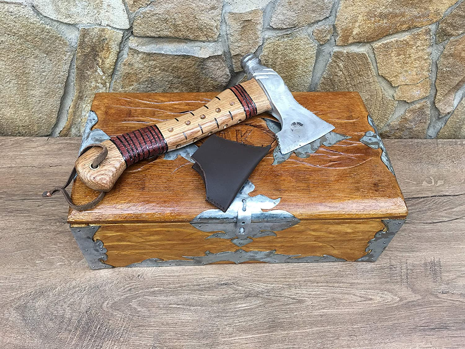 viking metal art Viking axe mens gift tomahawk wooden art gift for men,mens birthday gift bearded axe iron anniversary hatchet axe