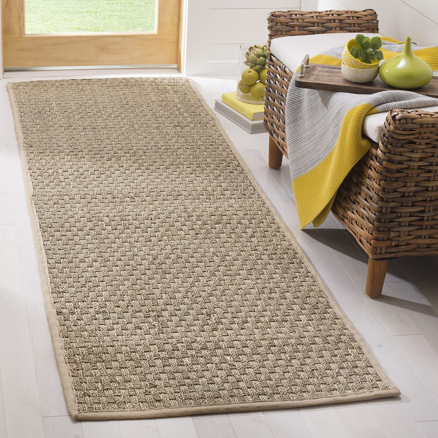 """Safavieh Natural Fiber Collection NF114A Basketweave Natural and Beige Summer Seagrass Runner (2'6"""" x 8')"""