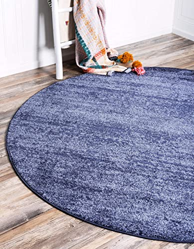 Unique Loom Del Mar Collection Contemporary Transitional Navy Blue Round Rug 8 0 x 8 0