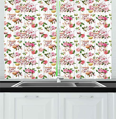 Ambesonne Vintage Kitchen Curtains, Vintage Antique Old Retro Tea Time Must Have Pots Cups Roses Flowers and Leaves, Window Drapes 2 Panel Set for Kitchen Cafe Decor, 55 X 39 , Multicolor