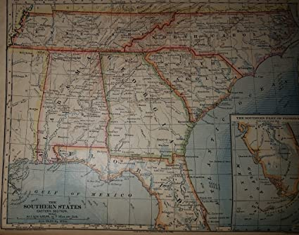 Amazon Com Map Of Southeastern United States Florida Georgia