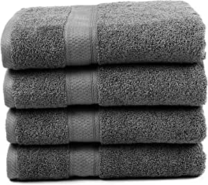 "Ariv Collection Premium Bamboo Cotton Bath Towels - Natural, Ultra Absorbent and Eco-Friendly 30"" X 52"" (Grey) (4 piece set)"