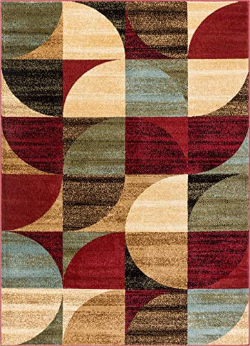 Well Woven Mid Century Modern Multicolor Geometric Modern Area Rug 5×7 5 3 x 7 3 Easy to Clean StainShed Free Abstract Contemporary Color Block Boxes Soft Living Dining Room Rug