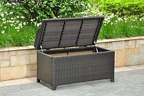 Wicker Resin/Aluminum Patio Bench With Storage