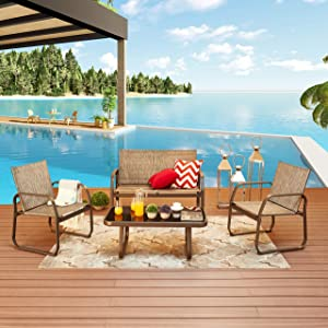 LOKATSE HOME 4 Pieces Patio Furniture Outdoor Bistro Conversation Set with Tempered Glass Coffee Table & Loveseat for Poolside, Porch, Lawn, Brown