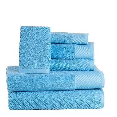 ISABELLA CROMWELL 6 Piece Cotton Bath Towels Set - 2 Bath Towels, 2 Hand Towels, 2 Washcloths Machine Washable Super Absorbent Hotel Spa Quality Luxury Towel Gift Sets Chevron Towel Set - Sea Blue