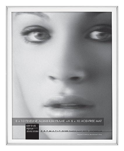 Amazon.com - Framatic Fineline 8x10 Inch Aluminum Matted Frame ...