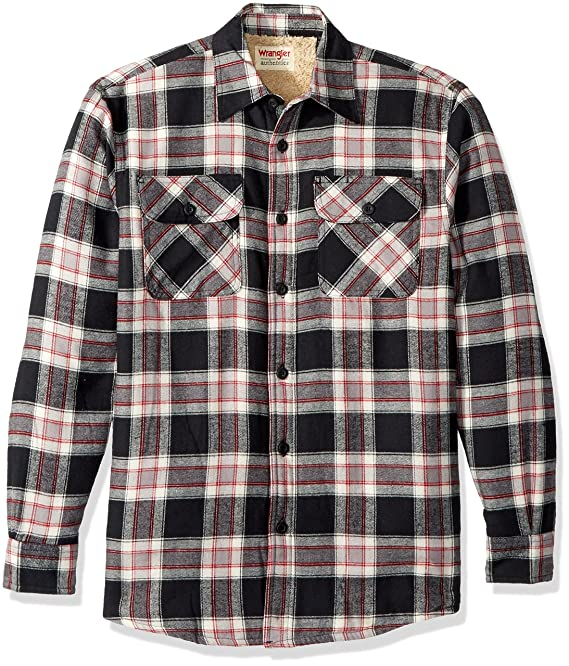 Wrangler Authentics Men's Long Sleeve Sherpa Lined  Shirt Jacket, Caviar, S
