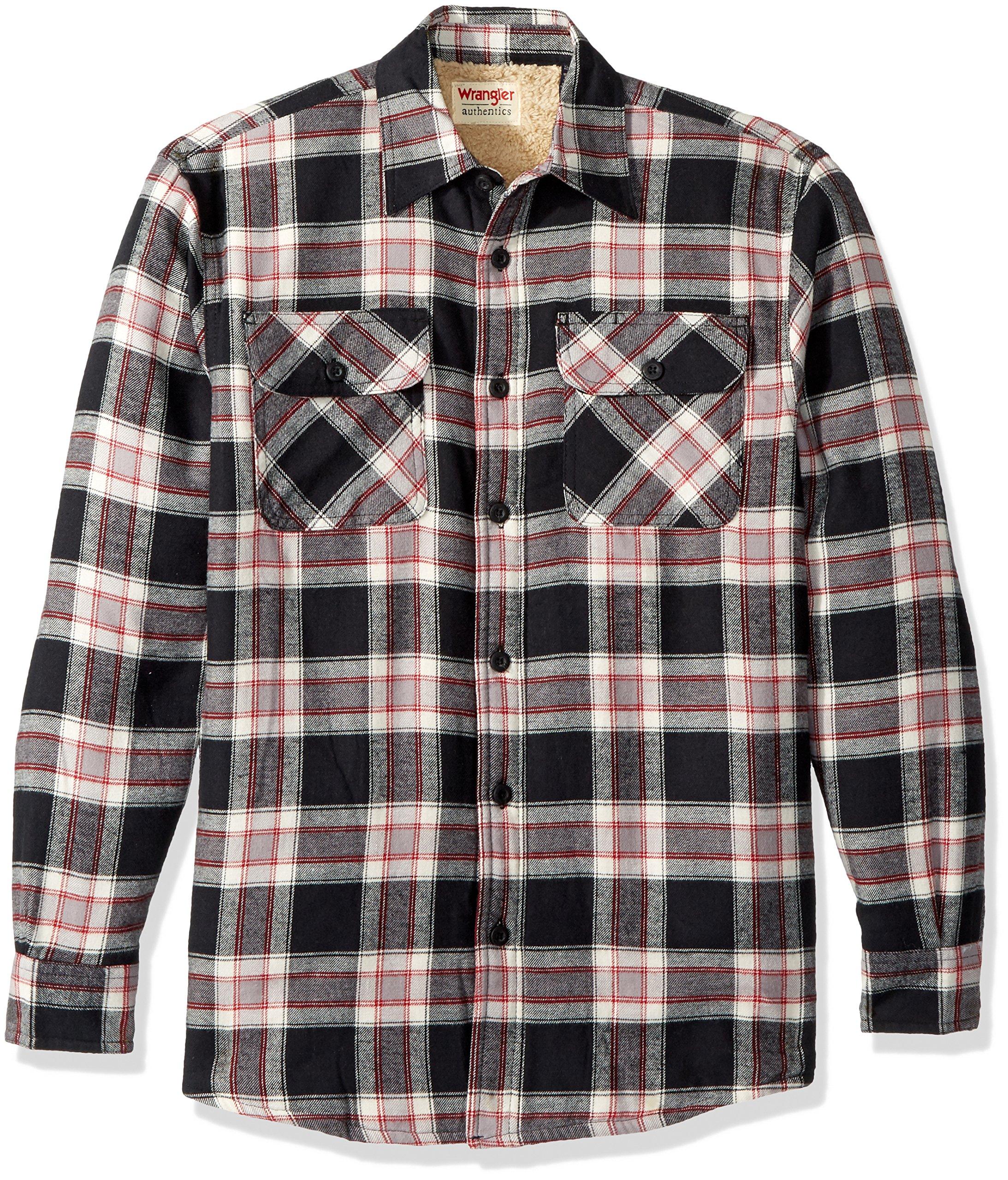 Wrangler Authentics Men's Long Sleeve Sherpa Lined Flannel Shirt Jacket, Caviar, M