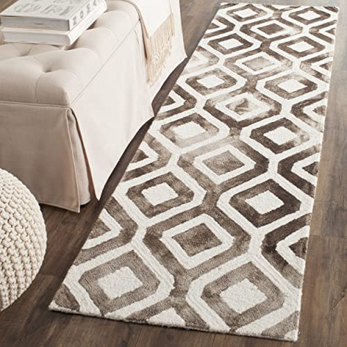 Safavieh Dip Dye Collection DDY679A Handmade Geometric Watercolor Ivory and Blue Wool Area Rug 8 x 10