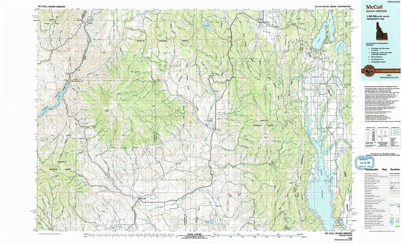 Amazon Com Yellowmaps Mccall Id Topo Map 1 100000 Scale 30 X 60