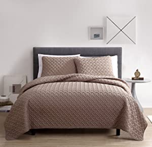 VCNY Home NIA-QLT-FUQU-in-TA Nina 3 Pc Luxurious Geometric Pattern Quilt Cover with Pillow Shams Set, Full/Queen, Taupe (Pack of 3)