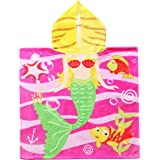 "Exclusivo Mezcla 100% Cotton Mermaid Kids Baby Hooded Poncho Bath/Beach/Pool Towel, 24"" x 47"""
